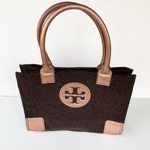 TORY BURCH GRAY/ROSE GOLD WOOL & LEATHER ELLA TOTE